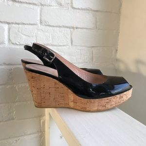 Stuart Weitzman Black Sandal Wedge Shoe sZ 8